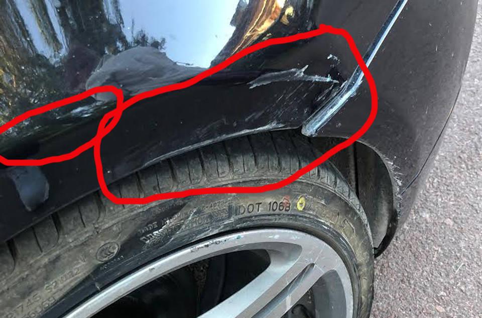 skrapat lacken på bilen